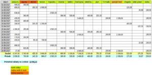 dílčí výpočet domácího rozpočtu